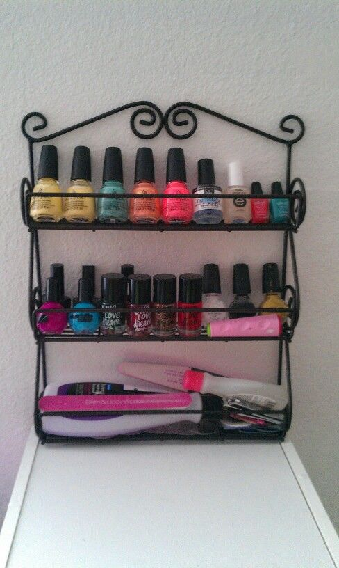 Use a spice rack as a nail polish rack! I'm much better organized with this now!