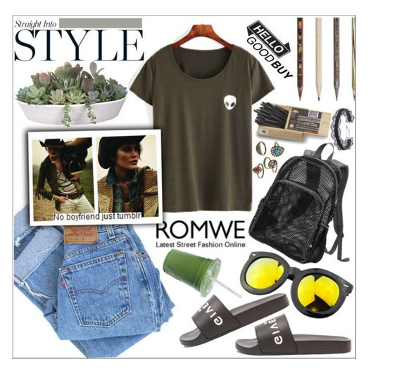 """""""♥ Romwe ♥"""" by av-anul ❤ liked on Polyvore featuring Levi's, Chicnova Fashion, VesseL, Caran D'Ache, Mudd, DANNIJO, romwe and avanul"""