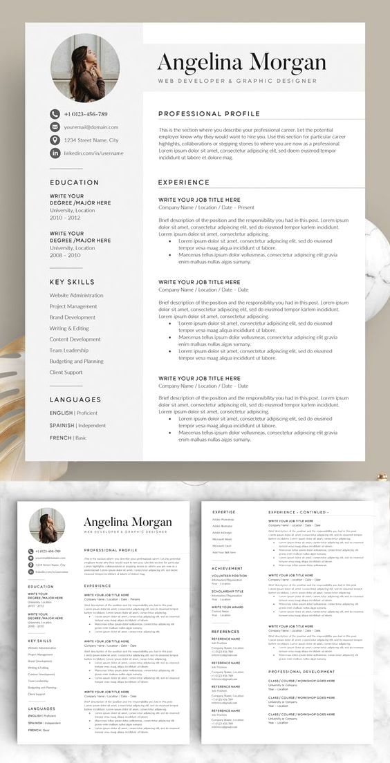 Professional Resume Template Instant Download 1 Page Resume Template For Ms Word Diy In 2020 Resume Design Creative Resume Template Word Resume Template Professional