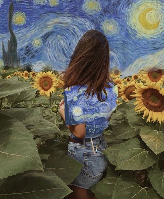 Van Gogh and his flowers. Made with PicsArt by @blondedradio