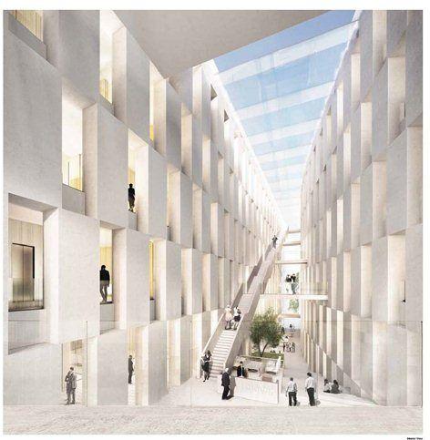 Mit ganz reduzierten Mitteln bietet der Entwurf von be berlin eine städtebauliche Lösung, die ihresgleichen sucht. Ein gestreckter und ein leicht geschwungener Baukörper werden auf eine Weise zu einander in Beziehung gesetzt, dass gegenüber dem...