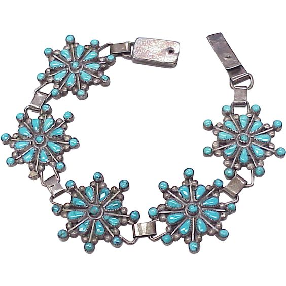 Vintage Zuni Turquoise & Sterling Bracelet by Nita Yuselew