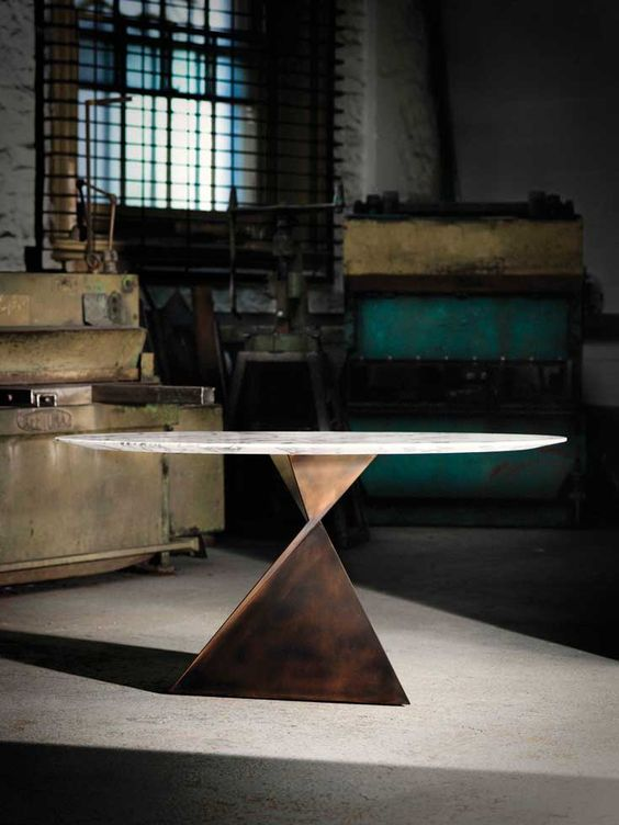 AVA #dining_table in #Bronze with #Arabescato #marble top.