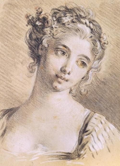 Head of a young girl by fran ois boucher dessins et for Boucher peintre