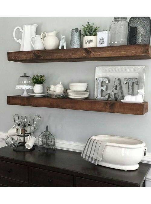 Mensola da cucina in legno massello effetto rustico colore noce ...