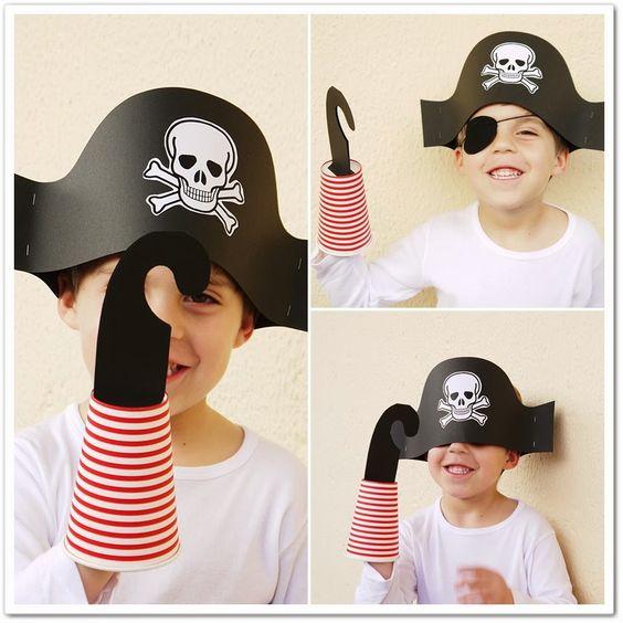 Manga por Hombro: Gorro y garfio de piratas: