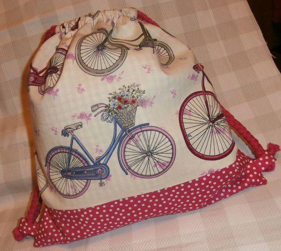 Mochila tela, estampado de bicicletas