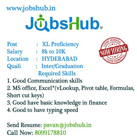 Urgent requirement for the position #XLproficiency at #Hyderbad - inter office communication