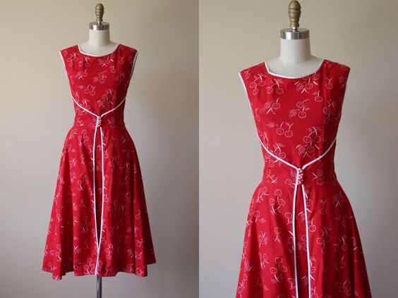 1950er Jahre - Vintage 50er Jahre Kleid - Neuheit drucken Kirschen Baumwolle Walkaway Wrap Sommerkleid M - Cherry Bomb Kleid von jumblelaya auf Etsy https://www.etsy.com/de/listing/281120978/1950er-jahre-vintage-50er-jahre-kleid