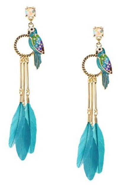 The earrings crafted in alloy, featuring lovely parrot pendant, elegant feather fastening to a ring pendant, rhinestone stud and a secure fastening to the reverse.