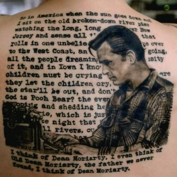 Dedicated book lover gets a Jack Kerouac tattoo.