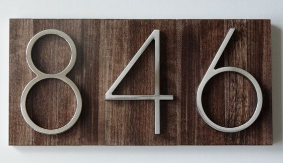Modern House Numbers Plaque on Stained Wood