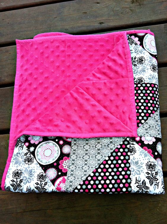 Just an Idea: black & white quilt, pink background...