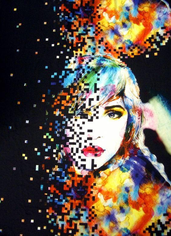 Stoff grafische Muster - Viskose-Elastan-Jersey Gesicht Cooles Design - ein Designerstück von Stoffhelden bei DaWanda