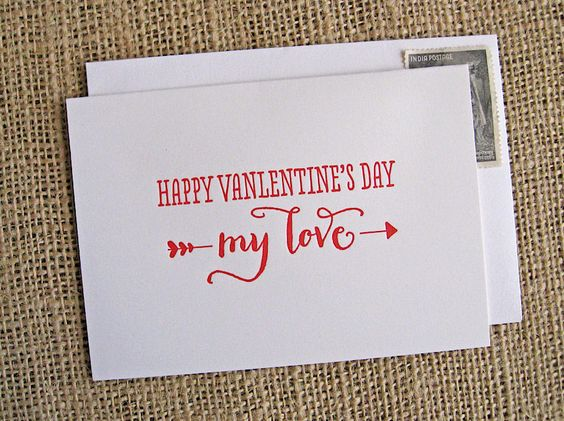 Happy Valentine's Day My Love: letterpress card. $4.00, via Etsy.