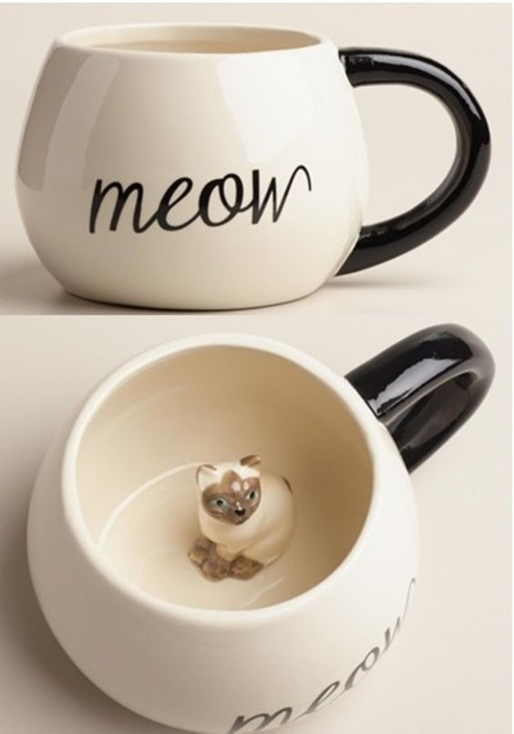 Surprise Cat Coffee Mug with Baby Cat Inside for the cat and hiding kitten lover!