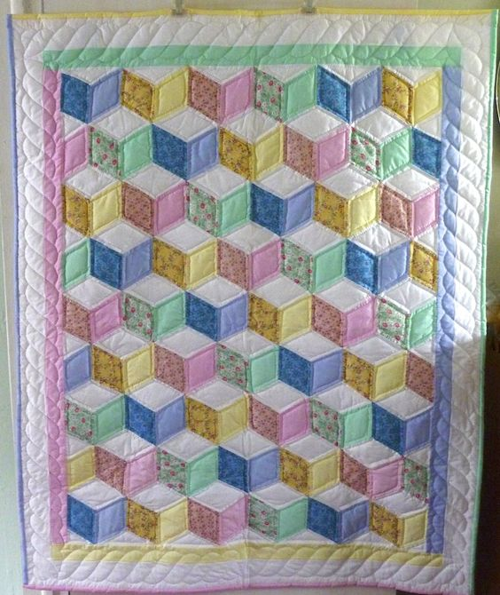 tumbling blocks baby quilt Full View: