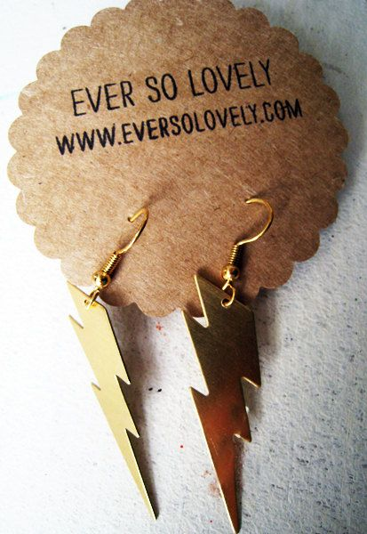 High Voltage Earrings  Thunderbolt Lightning Long by EverSoLovely, $25.00
