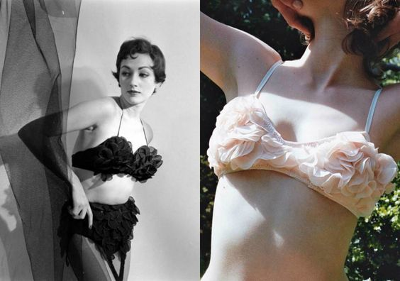 Vintage bra photographed by Nina Leen on left. Miss Crofton 'Blush' bra on right.