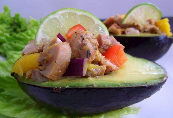 Caribbean Jerk Chicken & Mango Stuffed Avocados