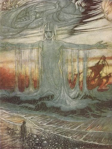 Arthur Rackham illustration for Aesop's Fables - The Shipwrecked Man and the Sea.