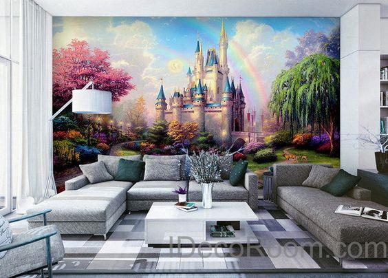 3D Tinkerbell Fairy Castle Wall Paper Rainbow Disney Princess Castle Wallpaper Wall Decals Wall