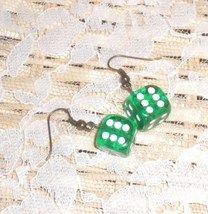 Green Dice Earrings-Handmade.  Very cute!!