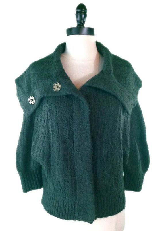 Free People Sweater S Wool Acrylic Blend Green Cable Knit Shawl Collar Cardigan #FreePeople #Cardigan