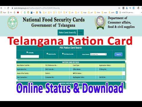 Ration Card Download Telangana Fsc Card Download Food Security