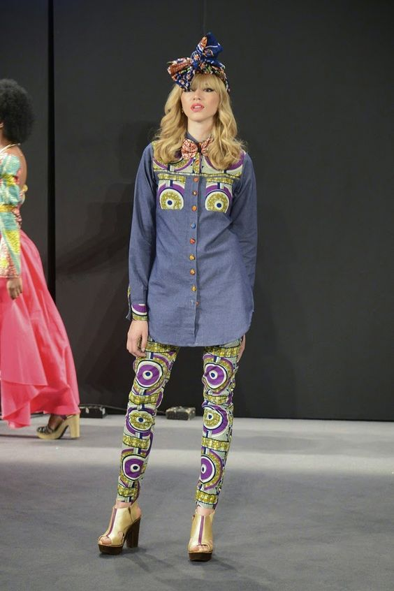 """Lía Samantha, """"Every Day #Afro"""" #SS15 - Colombiamoda 2014 / Turban, printed button shirt and psicodelic pants #runway #catwalk"""