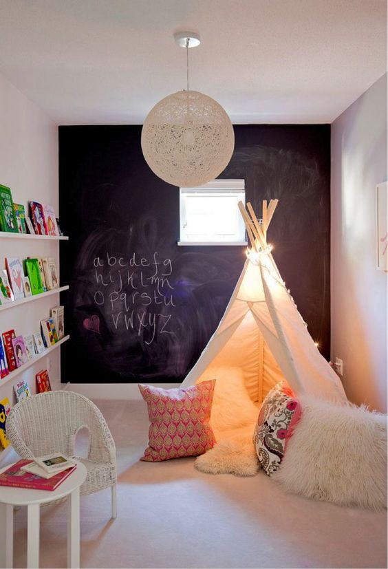 Get your kids hooked on books with a teepee reading area.