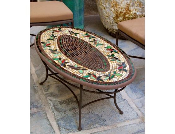 Knf designs mosaic tiled oval coffee table neille olson for Mosaic coffee table designs