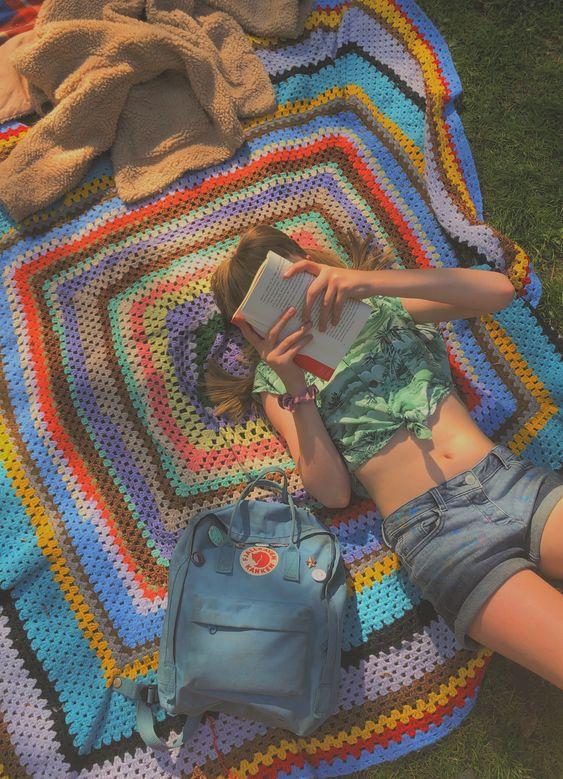 Happy books reading sun bathing