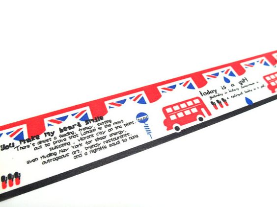 This listing is for a roll of Washi tape with cute drawings of British double decker buses, British soldiers, and different phases expressing his/her love to London.  The tape is 30 mm wide x 10 m long (approx. 1.18 x 32.8).