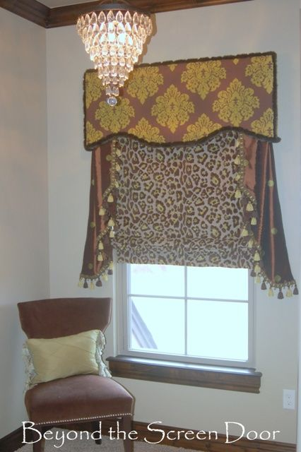 Cheetah print Roman Shade with contrasting valance and jabots - Beyond the Screen Door