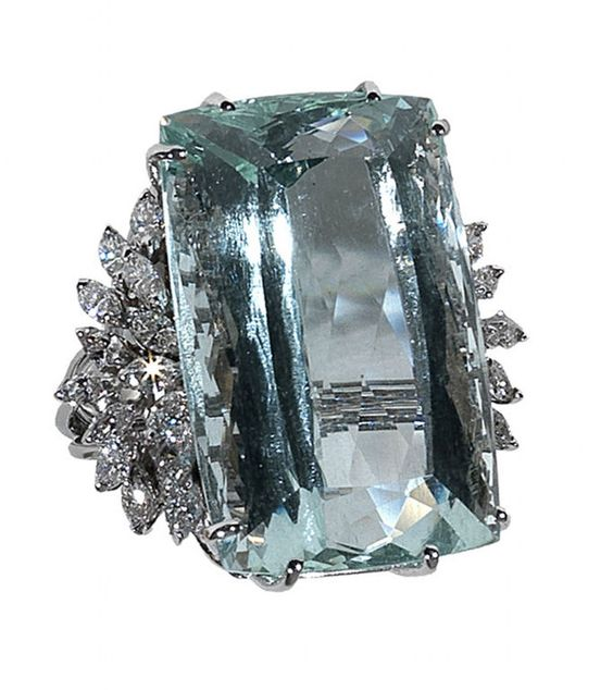Aquamarine Diamond Ring | From a unique collection of vintage fashion rings at http://www.1stdibs.com/jewelry/rings/fashion-rings/