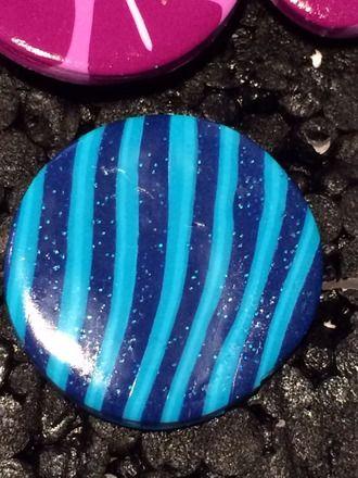Bague en Fimo pâte polymère Ronde abstrait rayé bleu 3 cm : Bague par ys-creations