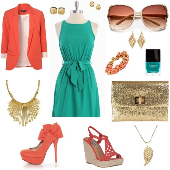 blue dress with coral gold accessories i fashion