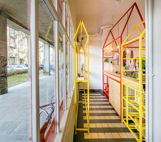 Playful Structures In Modest Restorant Interior - http://www.interiordesignwiki.com/home-decoration/playful-structures-in-modest-restorant-interior/