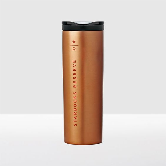 A+stainless+steel+coffee+tumbler+with+a+copper+finish+and+Starbucks+Reserve<sup>®</sup>+logo.