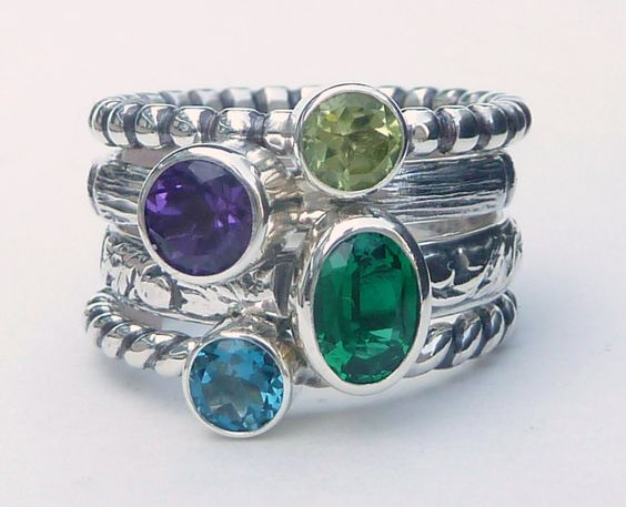 4 Birthstone Stacking Rings w/ 6x4 Oval Gemstone - Mothers Ring - Family Ring -  Stackable Rings - Birthstone Rings - Sterling Silver by GizmosTreasures on Etsy https://www.etsy.com/listing/229879591/4-birthstone-stacking-rings-w-6x4-oval