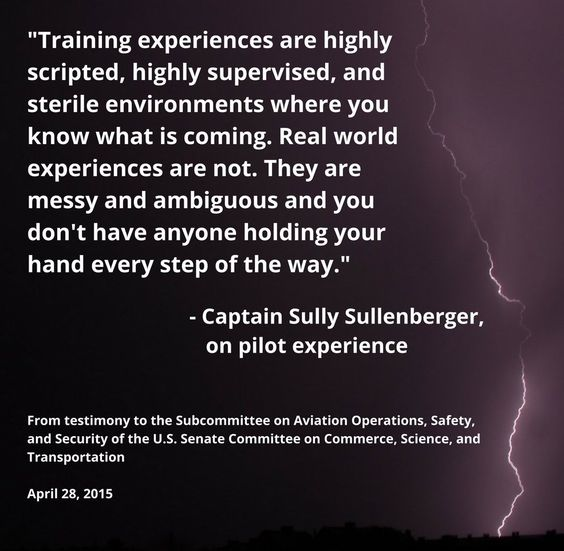 """Real world abnormals are """"messy and ambiguous"""" says Captain Sully.  It's true — Murphy has more imagination and springs more surprises than any simulator instructor!"""