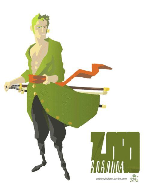 麦わらの一味、海賊狩りのロロノア・ゾロ。  Oh, Zoro, three swords are so much cooler than one.  Animated Gif by  —AnthonyHolden