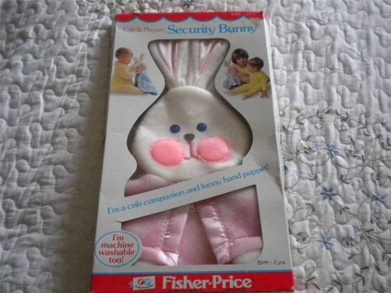 NEW Vintage 1979 Fisher Price Pink White Security Blanket Bunny Puppet Lovey HTF
