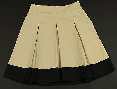Banana Republic Pleated Skirt Womens Size 4 Beige and Black Two Tone Stretch