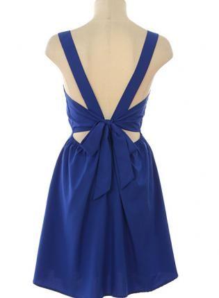 Navy Sleeveless Dress with Ribbon Tie Back,  Dress, ribbon tie back  sleeveless, Chic