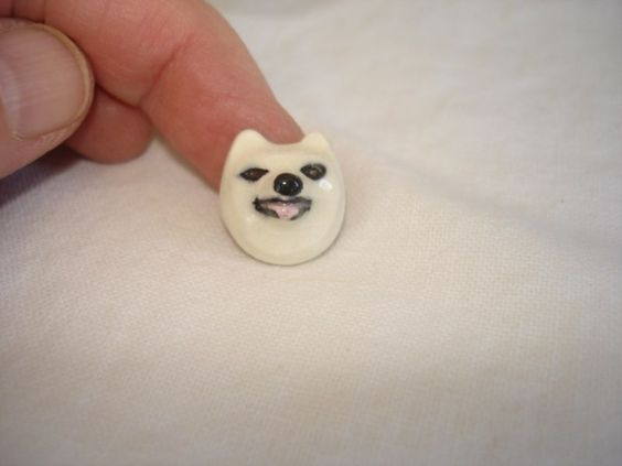 CSBS 1960's Ceramic Button Society Favor Wolf Husky | eBay