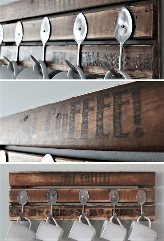 Easy Decor Pallette and Old Spoon Coffee Cup Rack