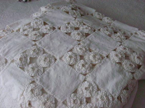 Vintage YoYo colcha en blanco reservado para rama por Serenities
