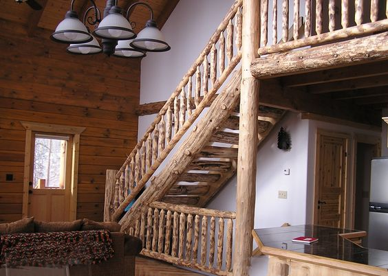 Best Half Round Natural Tapered Hand Scraped Log Stairs 400 x 300